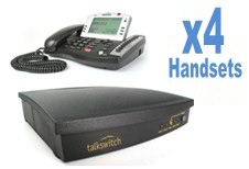 Talkswitch 480 Phone system Bundle with 4x TS 600 phones- 4 lines, 8 Extensions, 8 IP Extensions