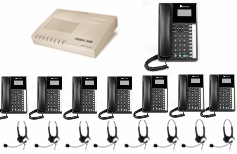 8x Orchid Telephone + 8x Headsets with business system