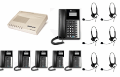 6x Orchid Telephone + 6x Headsets with business system