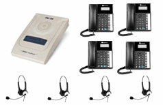 4x Orchid Telephone + 4x Headsets with business system
