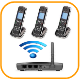 wireless business phone system package with 3 phones